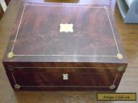 Antique Vintage Inlaid Wood Document Writing Box with Inkwells