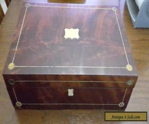 Antique Vintage Inlaid Wood Document Writing Box with Inkwells for Sale