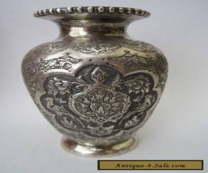 Exceptional Fine Quality Antique Persian Islamic Solid Silver Vase  for Sale