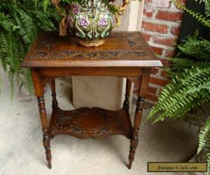 Antique English Carved Tiger Oak Lamp End  Table Two Tier for Sale