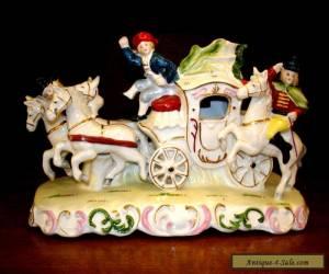 Vintage Porcelain Carriage & Horses Figurine - Germany? Dresden? Antique? for Sale