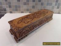 VICTORIAN/ EDWARDIAN HAND CARVED SOLID OAK TABLE STORAGE BOX-  LARGE QUALITY BOX