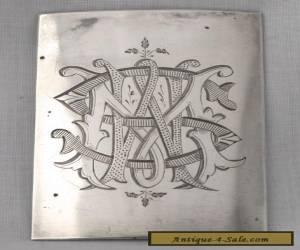 Vintage Silver Belt Buckle - Monogrammed for Sale