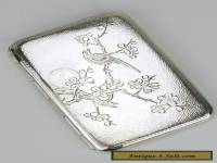 Solid silver Chinese Export small cigarette case box 1910s tabatiere