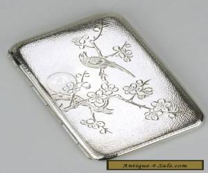 Solid silver Chinese Export small cigarette case box 1910s tabatiere  for Sale