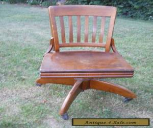 Antique OAK Swivel Bankers Chair Barrel Office Desk Chair Gunlocke for Sale
