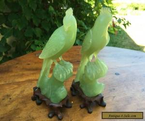 Vintage Antique Oriental Mirrored Pair Of Jade Celadon Hand Carved Birds for Sale