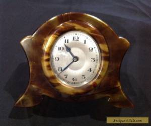 Vintage Faux Tortoise Shell Desk Clock for Sale