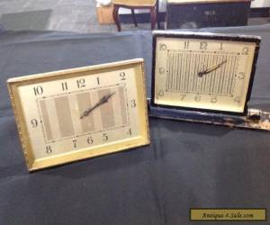 2 Deco Metal Desk Clocks for Sale