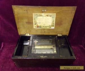 antique cylinder music box with 3 bells  for Sale