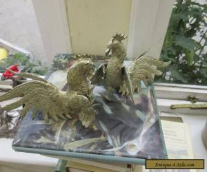 Antique pair of silver plate fighting cockerels table decorations ornaments for Sale