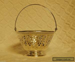 ANTIQUE MERIDEN BRITANNIA STERLING SILVER  ART DECO BASKET WITH HANDLE for Sale