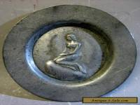 Vintage handmade in Denmark pewter decorative plate