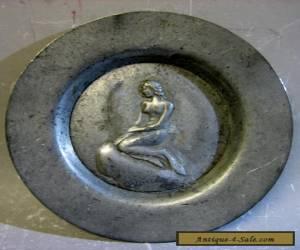 Vintage handmade in Denmark pewter decorative plate for Sale