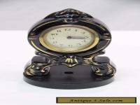Vintage Clock Bedroom/Mantle 16cm Black With Gold Metallic Face Germany#8714