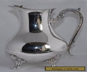 Vintage Footed Silver Plate Table/Water Jug with Ice Guard (1.4 Litres) for Sale