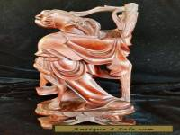 Vintage Antique Chinese Hand Carved Rosewood Statue Figure