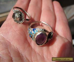 2 x Antique Sterling Silver RIngs - Antique Chinese Amethyst Enamel & Deco Ring for Sale