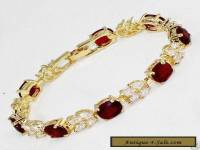 Vogue style jewelry 18k yellow gold gild red ruby gem bracelet 8 inches.+box