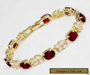 Vogue style jewelry 18k yellow gold gild red ruby gem bracelet 8 inches.+box for Sale