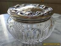 Antique Wallace Sterling Silver Top Cut Glass Powder Jar - Art Nouveau