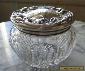 Antique Wallace Sterling Silver Top Cut Glass Powder Jar - Art Nouveau for Sale