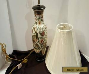 Vintage Chinese Porcelain Ceramic Hand Painted Table Lamp with Ivory Shade for Sale