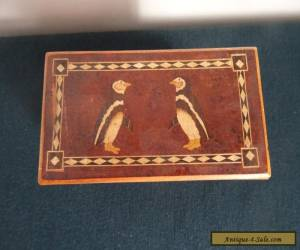 ANTIQUE/VINTAGE INLAID PAIR PENQUINS MARQUETRY TWO COMPARTMENTS PINE WOODEN BOX for Sale