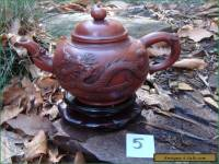Antique Vintage Yixing Zisha Teapot Applied Dragon Phoenix Decoration #5