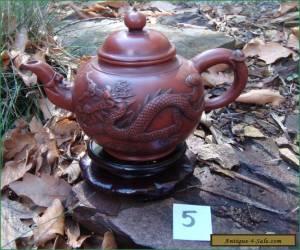 Antique Vintage Yixing Zisha Teapot Applied Dragon Phoenix Decoration #5 for Sale