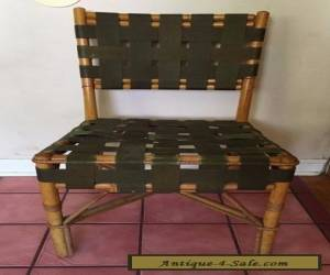 VINTAGE MID CENTURYAMBOO RATTAN Webbed SIDE CHAIR Rare for Sale