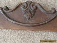 Antique Wood  Dresser Harp Base Crown Victorian Parts Fancy Carved Walnut Veneer