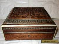 Vintage Empire Bone (?) Inlaid Carved Wood Anglo-Indian Box - Needs Some Repair
