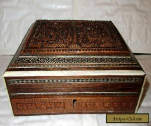 Vintage Empire Bone (?) Inlaid Carved Wood Anglo-Indian Box - Needs Some Repair for Sale