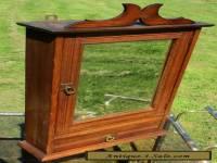Antique Massive Oak medicine bathroom Cabinet Beveled Glass mirror Wood