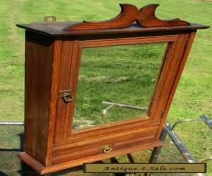 Antique Massive Oak medicine bathroom Cabinet Beveled Glass mirror Wood for Sale