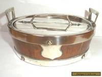 Victorian Oak & Silver Plated  Butter Dish with silver plated Mounts c1890