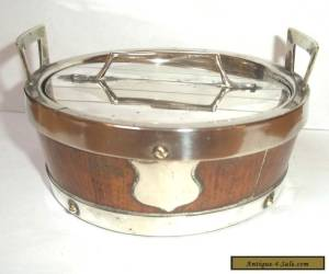 Victorian Oak & Silver Plated  Butter Dish with silver plated Mounts c1890 for Sale