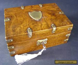 Antique Oak Brass Banded Box Working Lock & Key c1890 for Sale