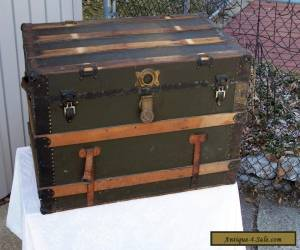 ANTIQUE  STEAMER TRUNK VINTAGE VICTORIAN WOODEN FLAT TOP ANTIQUE CHEST for Sale