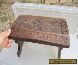 Small Antique Oak Stool Bench Seat Carved Wood Jacobean Style Vintage Old for Sale