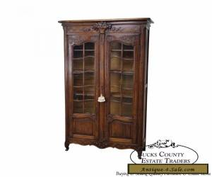 Antique 19th Century French Country Tall Oak Carved Curio Display Cabinet for Sale