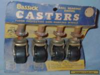VINTAGE FURNITURE PARTS SET 4 BASSICK CASTERS ON CARD NOS