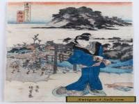 "Utagawa Kunisada (1786-1865) Antique Japanese Woodblock - ""View of Fujisawa"""