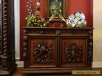 Antique French Carved Oak Hunt Cabinet Renaissance Sideboard Fish Gothic