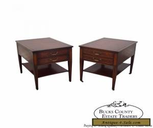 Vintage Pair of 1940s Mahogany Inlaid Leather Top End Tables for Sale