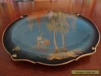 Antique 1950 Carlton Ware blue royale mikado oval plate