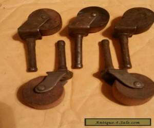 Antique furniture casters with wood wheels lot of 5 for Sale