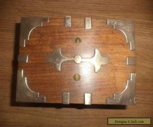 antique wooden box brass fittings  for Sale