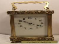 Antique French 8 Day Movement Carriage Clock With Case